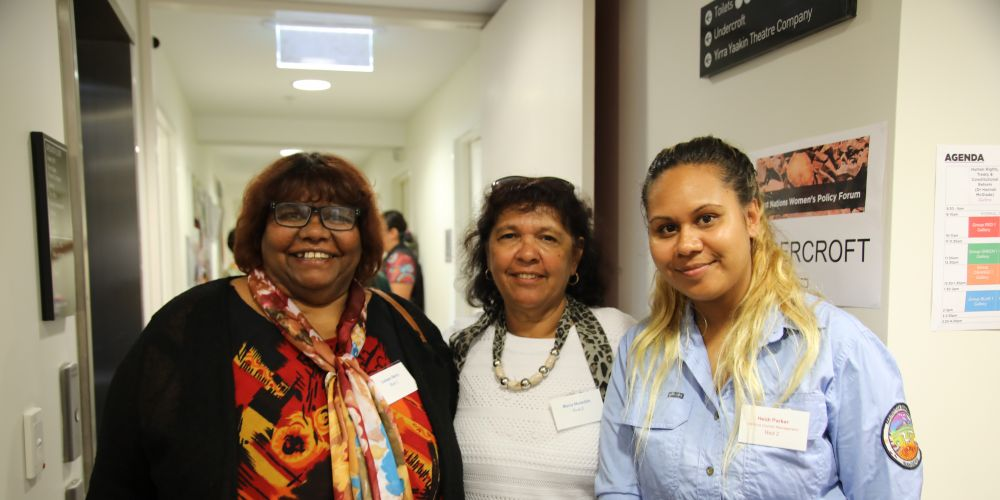 Colleen Berry, Maria Meredith and Heidi Parker at this week's First Nations Women's Policy Forum in Subiaco. Picture: Gemma Black