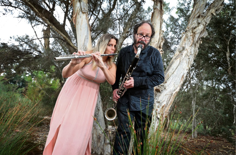 Kirsten Smith of Bayswater (Flute) and Lindsay Vickery of North Perth (Bass Clarinet).  GreyWing Ensemble is a group consisting of four musicians who will perform in the acoustic environment of the Eric Singleton Bird Sanctuary. Picture: David Baylis www.communitypix.com.au d480526