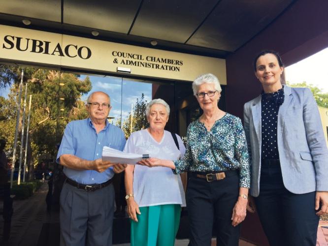 Subiaco residents Charlie Schiavitti, Loredana Schiavitti, Deputy Mayor Judith Gedero and Mayor Penny Taylor with the petition of 2500 signatures against Scheme Amendment 35.