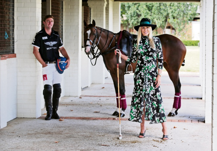Ambassador Emma Milner of City Beach with Polo pony Veuve, seen here at the Duncraig Stud in West Swan. Picture: David Baylis www.communitypix.com.au d479938