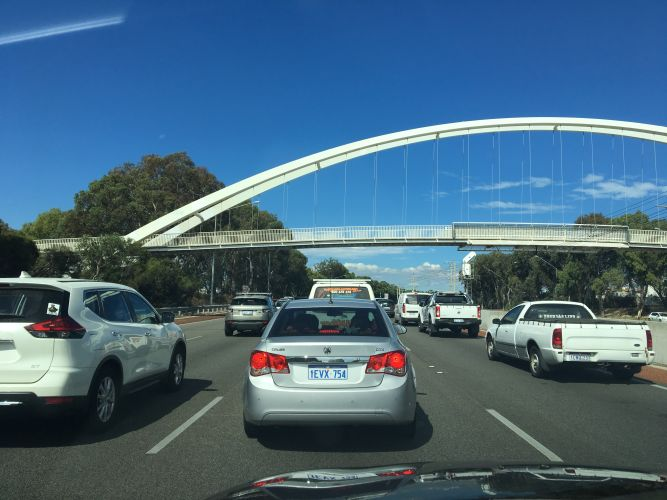 Traffic backed up on the Mitchell Freeway southbound. Picture: Justin Bianchini.
