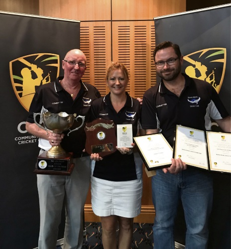 Quinns Rocks Junior Cricket Club president Daniel Shortill, registrar Serena Spadaro and beginners co-ordinator Stewart O'Connor.