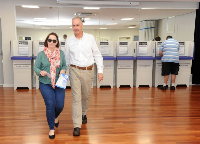David Honey and his wife Robyn votes at the Cottesloe Civic Centre on Saturday. Picture: Jon Bassett.