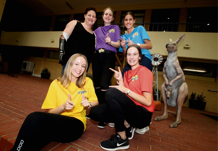 Melissa Groenewold (left) with students Stella McLaughlin, Annie Messina, Grace Pooley and Vivienne Holt.