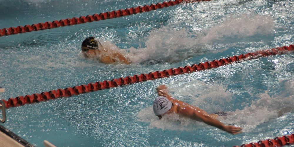 Southside Penrhos Wesley swimmer Ethan Bradley in action against a rival swimmer during the tournament.