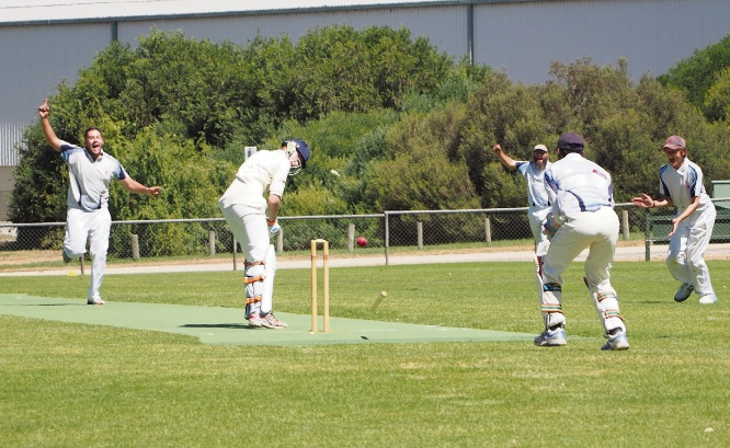 SJ Blues captain Michael Elphinstone claims the wicket to give his team the vital first innings win.
