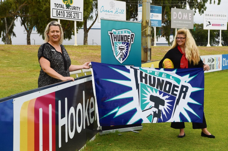 L to R - Paula Barnden (Peel Thunder) & Renee Hardman (LJ Hooker) Picture: Jon Hewson www.communitypix.com.au