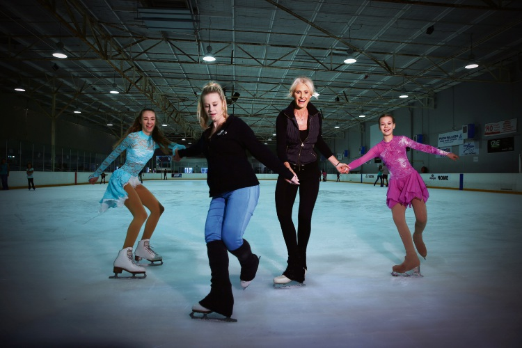 Sophia O'Kane, coaches Amber Trevor-Hunt and Judi Skillicorn and Kaylee Walton... there has been an upsurge of popularity ever since the 2018 Pyeongchang Winter Olympics. Picture: Andrew Ritchie www.communitypix.com.au   d479994