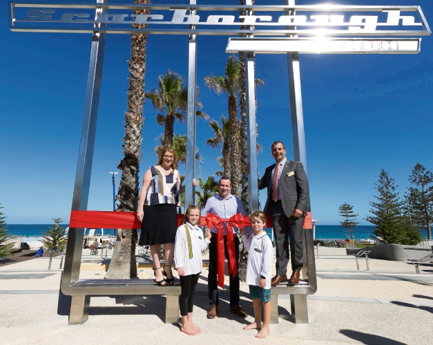 Planning Minister Rita Saffioti, Premier Mark McGowan and Stirling Mayor Mark Irwin with Scarboro Surf Life Saving Club nippers Daniella MacGregor-Bayne and Owen Wright. Picture: Metropolitan Redevelopment Authority