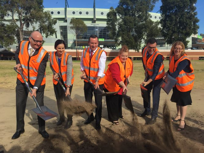 Mt Lawley MLA Simon Millman, Subiaco mayor Penny Taylor, Premier Mark McGowan, education minister Sue Ellery, Perth MLA John Carey and planning minister Rita Saffioti at the turning of the sod for the new Inner City College.