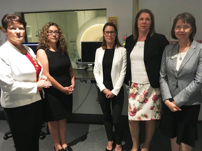 Kim Travers, Jessica Shaw, Lauren Palmer and Catherine King in front of the MRI machine on a recent visit to Midland Hospital. Picture: Supplied