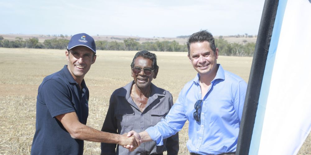 Dr Michael Ottaviano with Elder Cedric Jacobs from the Perth Noongar Foundation and Energy Minister and Treasurer Ben Wyatt. Picture: Supplied