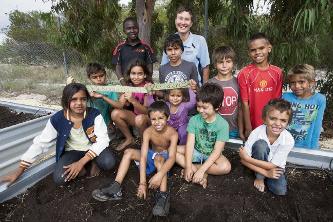 Dr Caroline Nilson with children involved in the Bindjareb Yorgas Health Program.