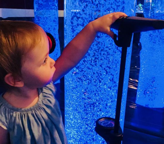Gracie Mclennan enjoys the sensory room.