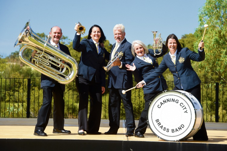 City Of Canning Brass Band Members Mark Davenport, Michelle Wilde, Victor Moss, Viv Wilde and Helen Grimm. Picture: Jon Hewson www.communitypix.com.au d480860