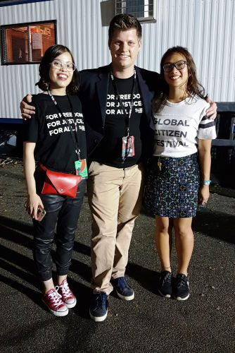 Shakira Donovan, Global Citizen's Michael Sheldrick and Jessica Vu at the Global Citizen Festival. Picture: Leinard Tapat