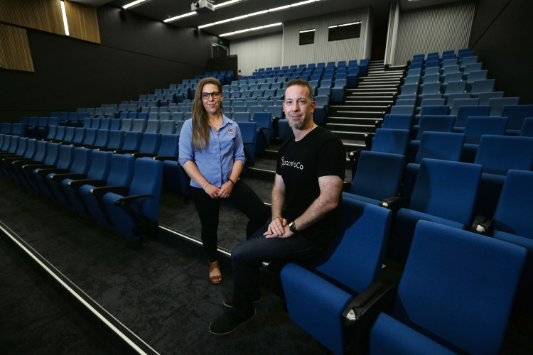 ECU campus support officer Emma Lewin and SpacetoCo founder Daniel McCullen. Picture: Andrew Ritchie d480906
