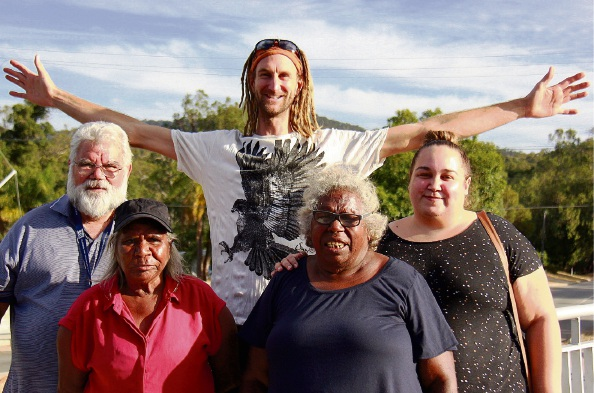 Dr. Noel Nannup with Rita Cutter, Leena Long and Alison Murphy (nee Nannup) with Simon Cherriman, who the Martu people call 'Eagle Man' . Picture: Stella Gray-Broun.
