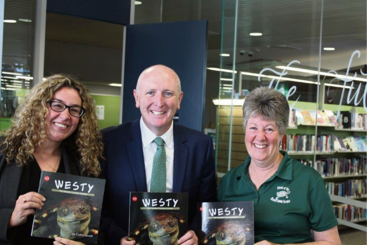 Swan Hills MLA Jessica Shaw, Environment Minister  Stephen Dawson and author Cathy Levett launch Westy the Western Swamp Tortoise.