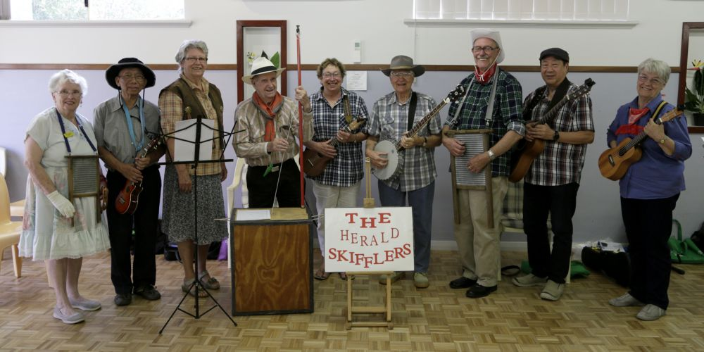 The Herald Skifflers members Margret Tanner (Beckingham), David Leonge (Winthrop), Willi Verschoof (Riverton), Dennis Leach, Meryl Jones (Mt Pleasant), Jack Rhodes (Williton) , Harry Monks (Parkwood), Frankie Tang (Canning Vale) and Christine Ross (Parkwood).