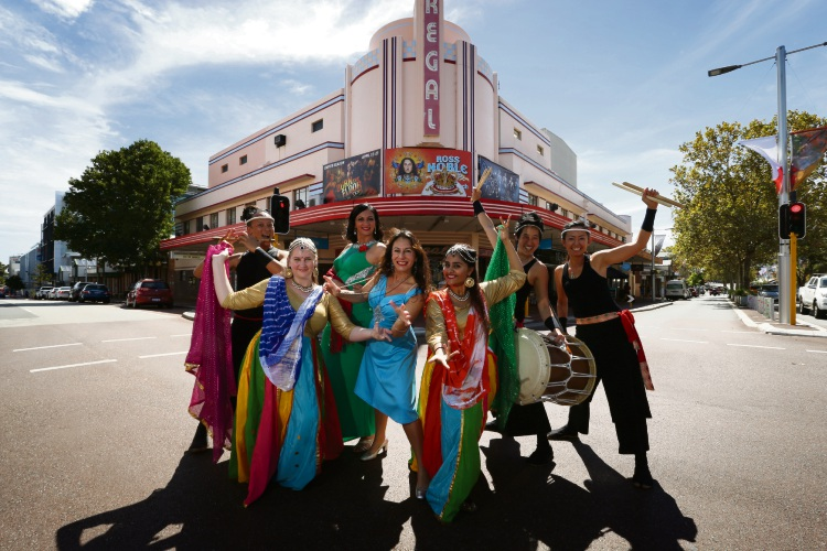 Sanshi (Taiko On), Megan Owen (Bollywood Dance Studio), Antonietia Delia (Primadonna Duo), Randa Khamis (Randa and the Soul Kingdom), Maitri Patel (Bollywood Dance Studio), Mel Seow and Hisami Mackie (Taiko On) getting ready for the Subiaco Street Party. Picture: Andrew Ritchie www.communitypix.com.au d480828