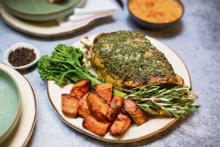 Nelly Robinson's 4-Hour Lamb Shoulder with Mint, Pumpkin, Chargrilled Broccolini and Black Sesame Yoghurt