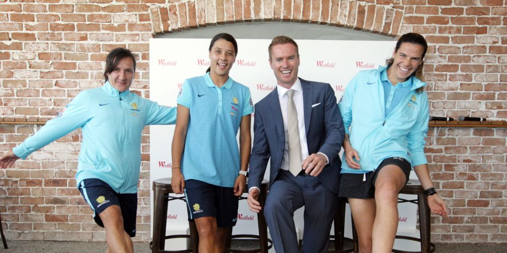 Matildas Lisa De Vanna, Sam Kerr and Lydia Williams with Joondalup Mayor Albert Jacob. Picture: Bruce Hunt d481038