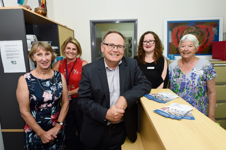 Tracey Simpson, Amanda Ahearn, Mandurah MLA David Templeman, Nicola Lambert and Terri Coughlan at the launch.