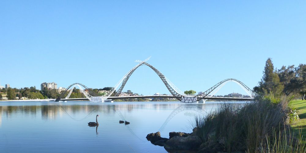 An artist's impression of the new Matagarup Bridge.