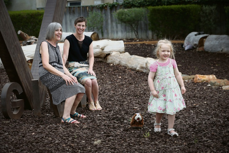 Mt Hawthorn resident Anne Bate with granddaughter Charlotte Hollenberg (3) and Mayor Emma Cole. Anne came up with the idea to turn the space into a park where she could take her granddaughter to play. Picture: Andrew Ritchie d480984