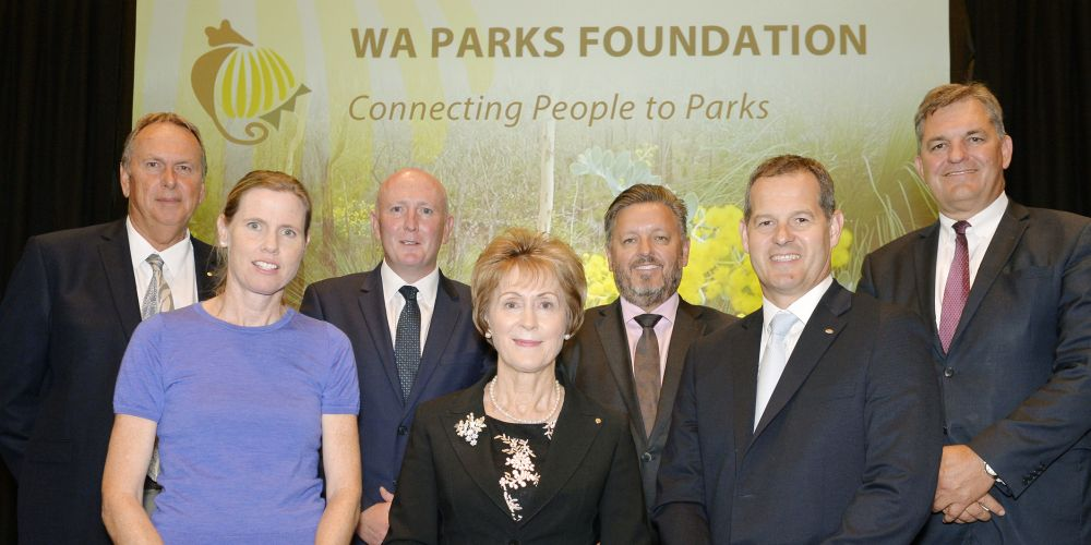 481206p - WA Parks Foundation chairwoman Kerry Sanderson with representatives from the Foundation and its founding corporate partners.