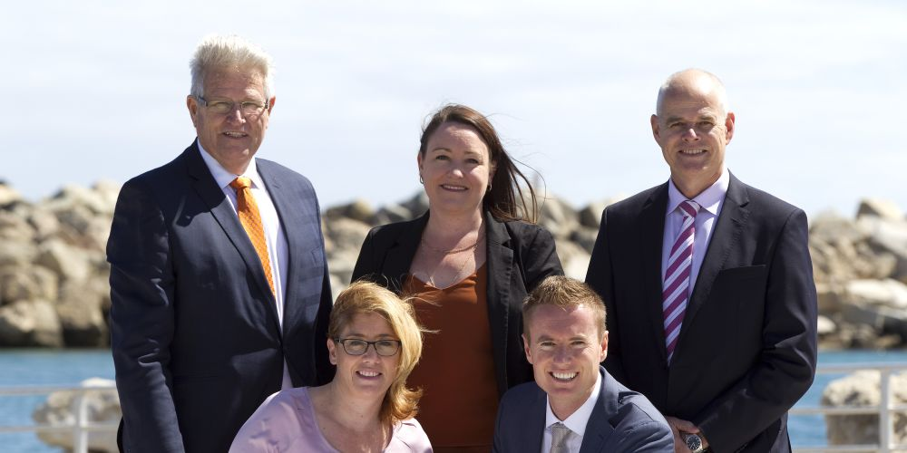 Back: Joondalup chief executive Garry Hunt, Joondalup MLA Emily Hamilton and LandCorp chief operations officer Dean Mudford. Front: Lands Minister Rita Saffioti and Joondalup Mayor Albert Jacob.