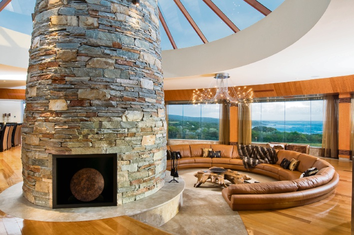 his luxury Cowaramup home by Zorzi Builders includes a huge living area with a feature fireplace and amazing views.