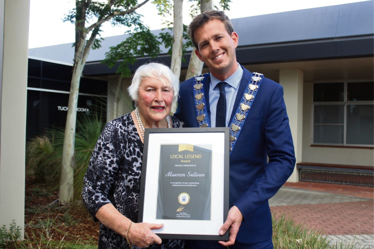 Mayor Rhys Williams with Local Legend Maureen Sullivan and her award.