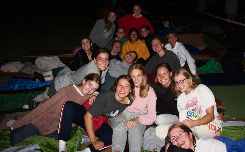 Year 10 St Mary's Anglican Girls' School at a sleep out to raise money for Street Connect.