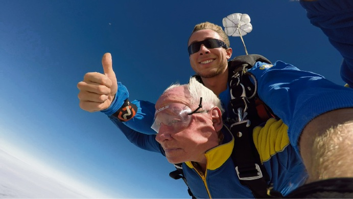 88-year-old Jack Christie parachuting yesterday with the Rockingham Sky Dive team.