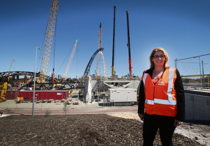 Rita Saffioti on the new Pedestrian Bridge in Burswood. Picture: Matt Jelonek d481260