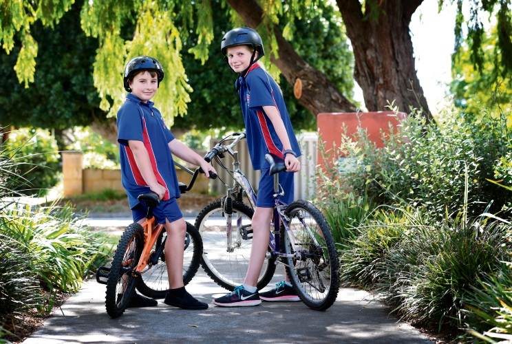 Forrestfield Primary School students Maison Smith (9) and Milly Bitkash-Cunningham (11) enjoy cycling and the City of Kalamunda is inviting feedback on its bicycle plan that considers encouraging children to ride to school. Picture: David Baylis www.communitypix.com.au d481180