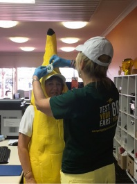 Clinic Assistant Andrea Edwards wearing a banana suit, at the Go Bananas event in Mandurah.
