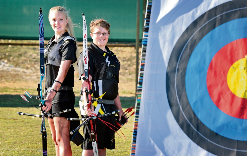 Meagan (15) and Harrison (13) Locke of Landsdale, members of the Benara Bowman. Siblings Meagan and Harrison will represent WA in the 40th Archery Youth National Championships in Victoria in April. Picture: David Baylis d481194
