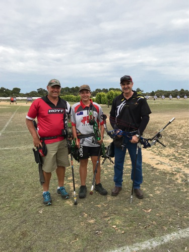 Danie and Danie-Louis Oosthuizen from the Benara Bowmen Archery Club with Alan Pound from the Whiteman Park Archers.