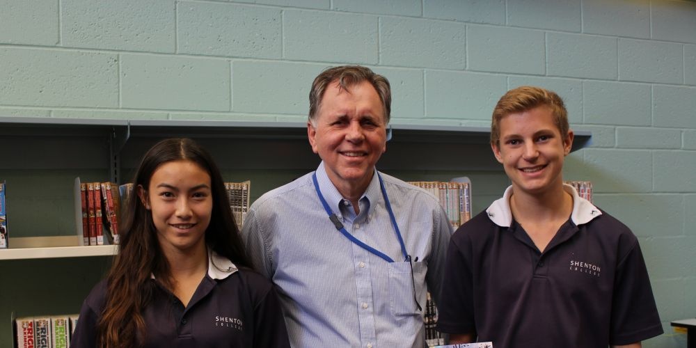 Nobel Prize laureate Prof Barry Marshall with Shenton College students Hana Wager (Year 9) and Ben Tonkin (Year 9). Photo: Supplied.