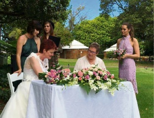 Joy Wilcox and Sara Haddock tie the knot in Hyde Park after 35 years together