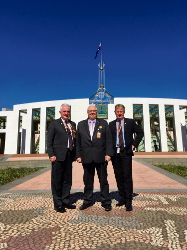 City of Swan chief executive Mike Foley, Mayor David Lucas and Deputy Mayor Kevin Bailey in Canberra. Picture: Supplied