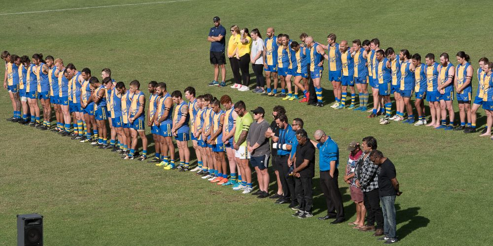 Gosnells players pay their respects after last month's tragedy. Picture: Gnangarra