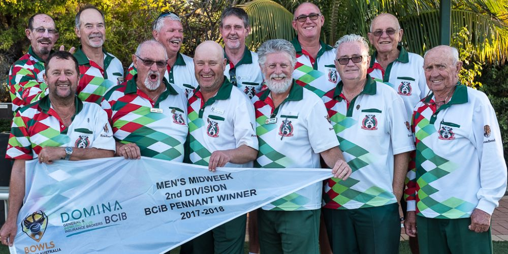 The South Perth Second Division team celebrate their pennant victory. Picture: Michael Dodd