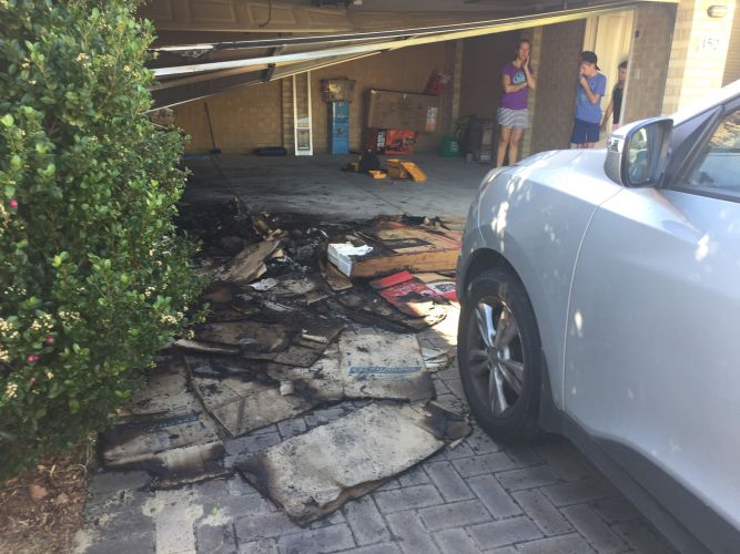 Iluka house fire: father-of-two suffers extensive burns in garage fire