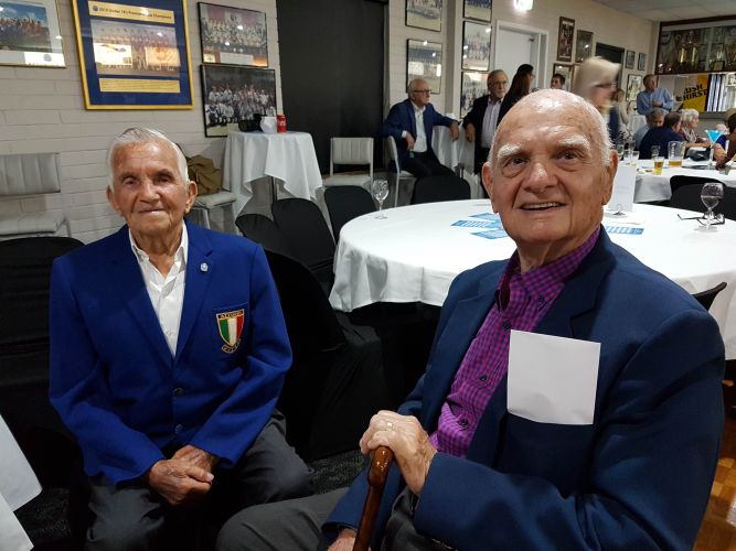 Perth SC supporter Guido D'Abbondio and Elio Nizzola, the only surviving player from the inaugural Perth SC team. Picture: Perth SC