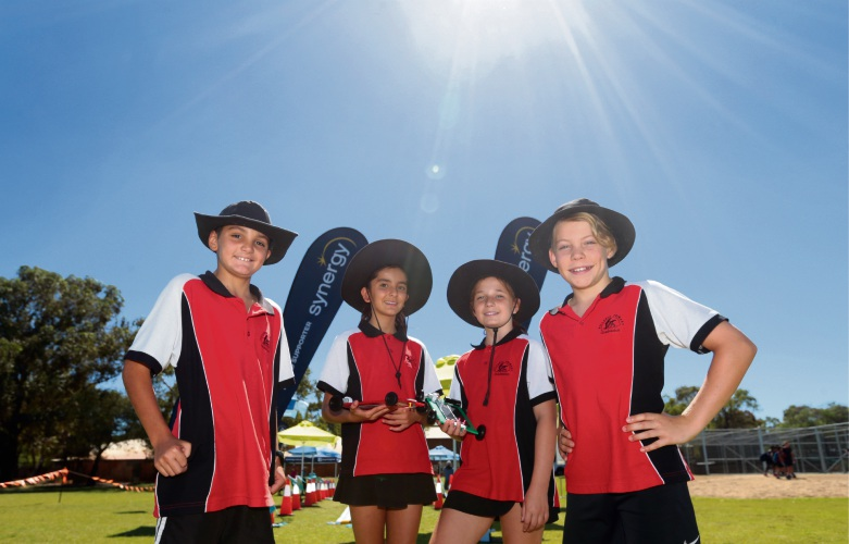 Winning year 6 team Sergio Coelho, Lilit Tumanyan, Isabelle Blaxell and Dylan Manning from Hillarys Primary School. Photo: Martin Kennealey