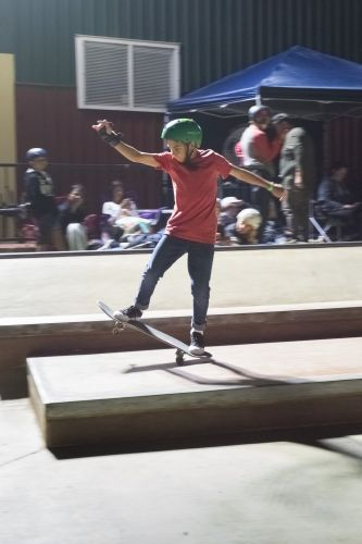 Under-15 skateboarding competition winner James Saladine.